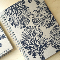A5 Tree Print Spiral Notebook. Linocut Lined Journal.