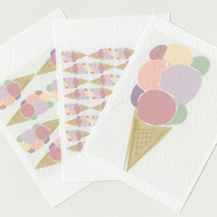 Ice Cream Postcard Set . 3 Pastel Mini Prints