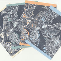 Bird Postcard Set. Linocut A6 Print Set