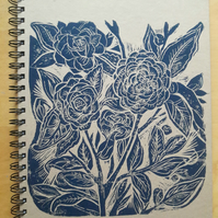 A4 Linocut Notebook . Recycled Lined Journal