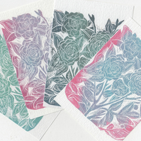 Flower Postcard Set. Linocut A6 Prints