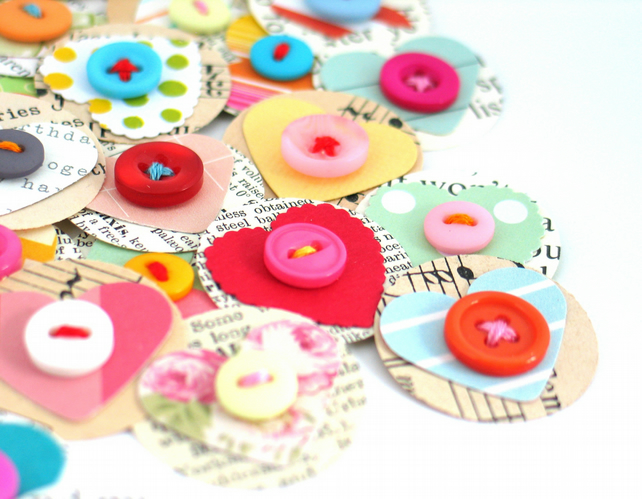 I HEART YOU Handmade Scrapbook Embellishments