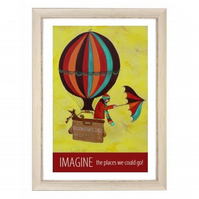 """Imagine"" print white frame"