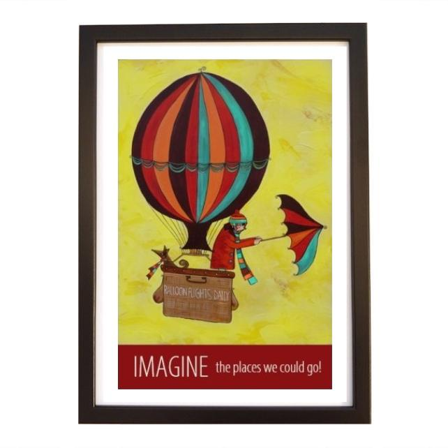 """Imagine"" print black frame"