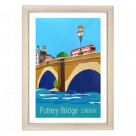 Putney Bridge London white frame