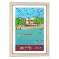 Putney Pier London white frame