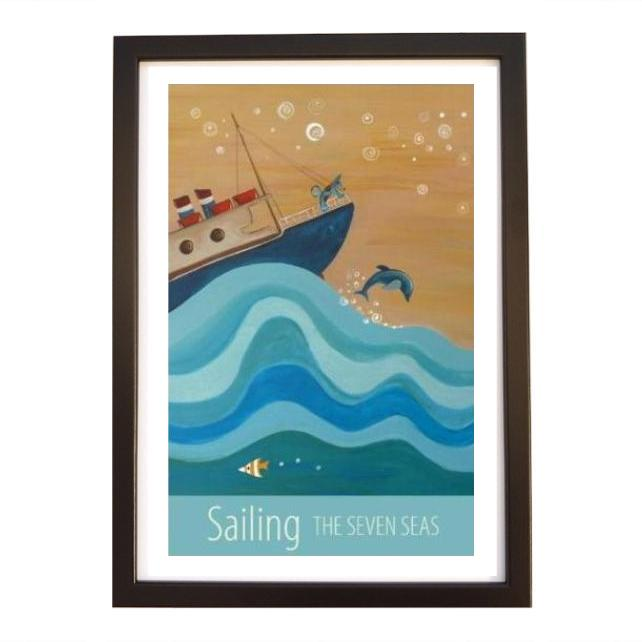 """Sailing"" print black frame"