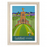 Guildford Cathedral print - white frame