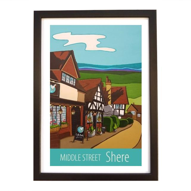 Shere, Middle Street print - black frame