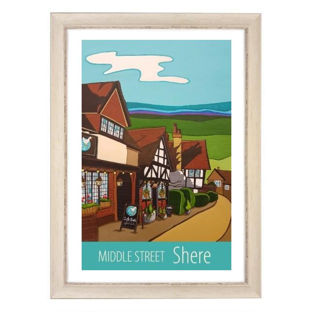 Shere, Middle Street print - white frame