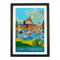 Chiddingfold St Mary's print - black frame