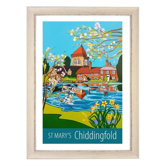 Chiddingfold St Mary's print - white frame