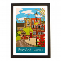 Petersfield Hampshire print - black frame