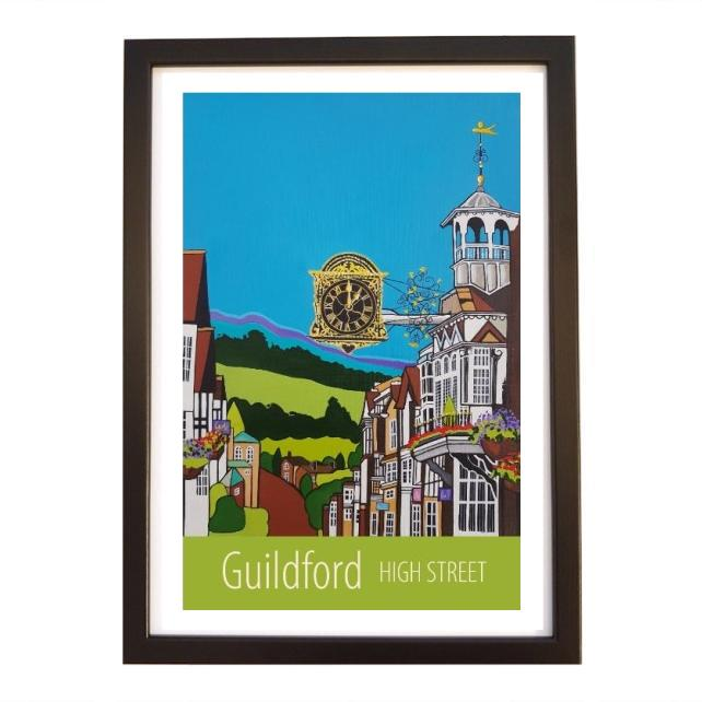 Guildford High Street travel poster print by Susie West