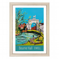 Ewell, Bourne Hall print - white frame