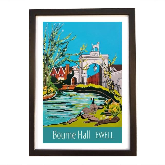 Ewell, Bourne Hall print - black frame
