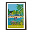 Teddington Lock travel poster print by Susie West