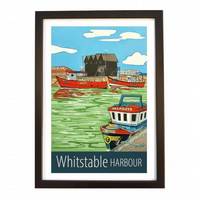 Whitstable Harbour travel poster print by Susie West