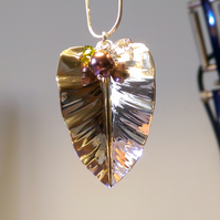 New Leaf silver pendant with Swarovski crystals and pearl