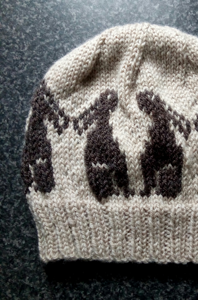 Moongazing Hares Hand Knit Fair Isle Beanie Hat in Cream and Dark Brown