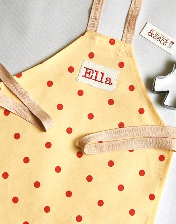 Toddler Apron Buttermilk & Rose Polka Dot Embroidery Name - Age 1 to 3 year