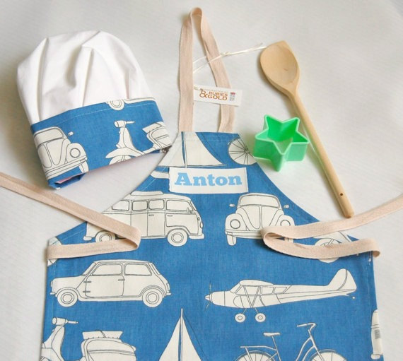 Child's Apron Chef Hat Blue Transport Cotton Apron with Printed Name 3-6Y 7-10Y