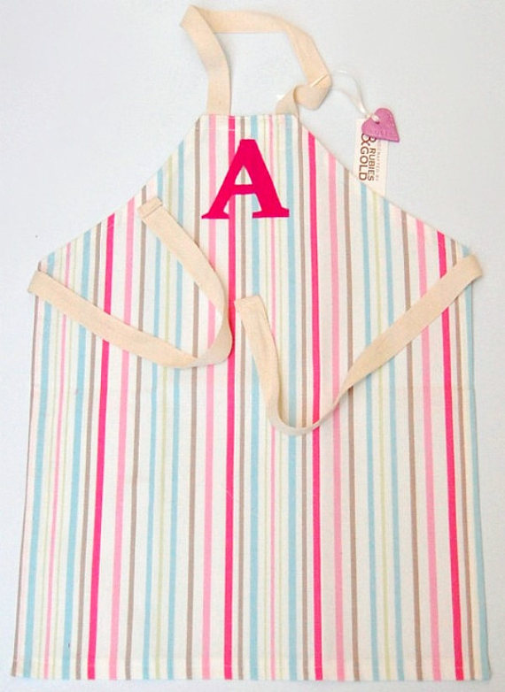 Girl's Apron Pink Candy Stripe Cotton INITIAL or Cut Linen Letters - 7 to 10 Yr