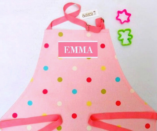 Child's Apron - Pink Multi Dot Cotton Printed Apron, 3-6 yr or 7 to 10 yr