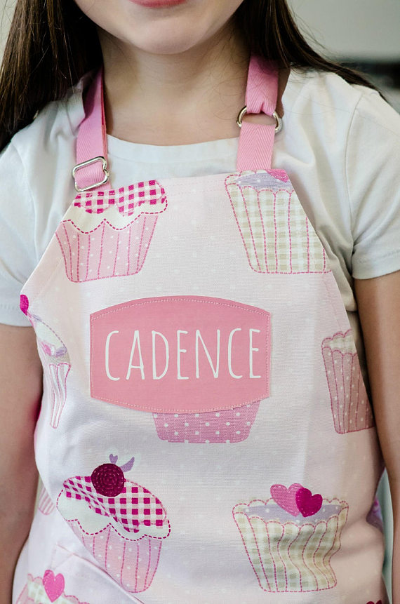 Child's Apron - Pink Cupcake Cotton Printed Apron, 3-6 yr or 7 to 10 yr