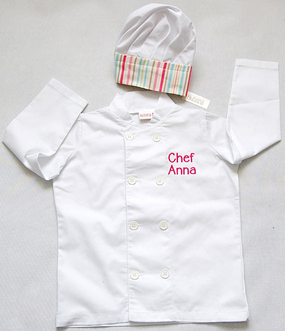 Girl's Chef Jacket and Chef Hat - Toddler or Junior Size.