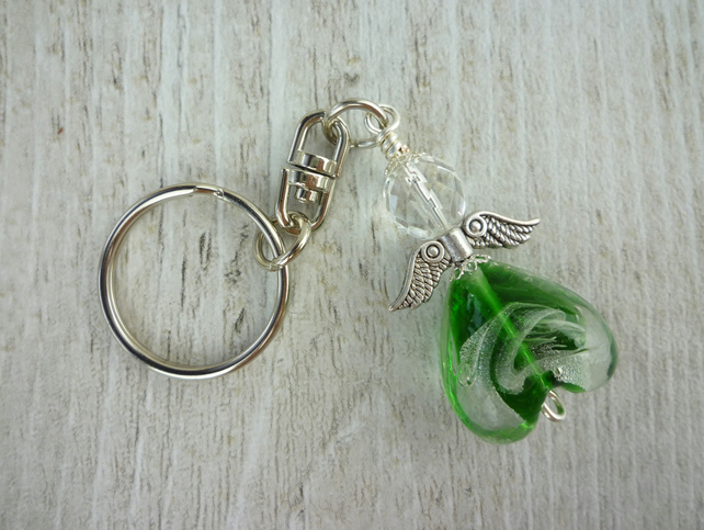Beaded Guardian Angel Keyring Charm in Green