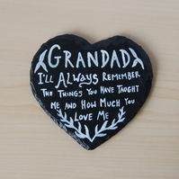 Heart Shaped Slate Coaster - Grandad