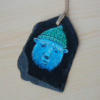 Polar Bear, hand painted Tag Slate
