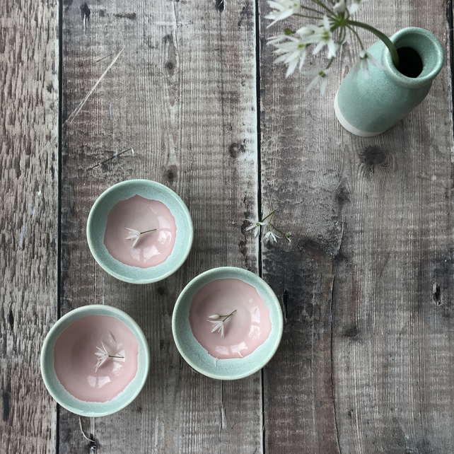 Rose pink and mint ceramic dish
