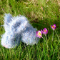 Blue-Grey Fluffy Bunny, Knitted Plush Rabbit Decoration
