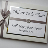 Personalised Silver  Wedding Guest Book (any colour)