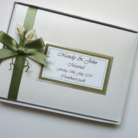Personalised Wedding Guest Book (sage green) with flowers (calla lilies) - ANY C