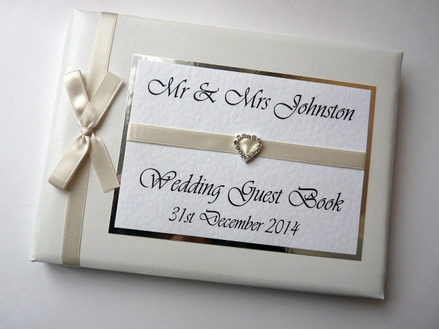 Personalised Ivory Wedding Guest Book (any colour)