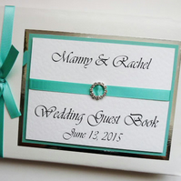 Personalised Turquoise Wedding Guest Book - ANY COLOUR