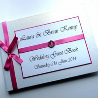 Personalised Cerise Pink Wedding Guest Book (any colour)