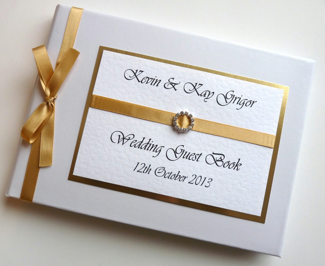 Personalised Gold Wedding Guest Book - ANY COLOUR
