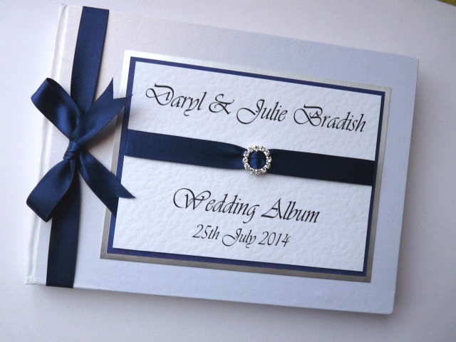 Personalised Navy blue Wedding Guest Book (any colour)