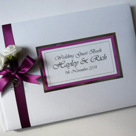 Personalised Wedding Guest Book with flowers (roses) - ANY COLOUR