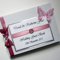 Personalised Wedding Guest Book with butterfly (any colour)