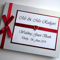 Personalised Red Wedding Guest Book (any colour)