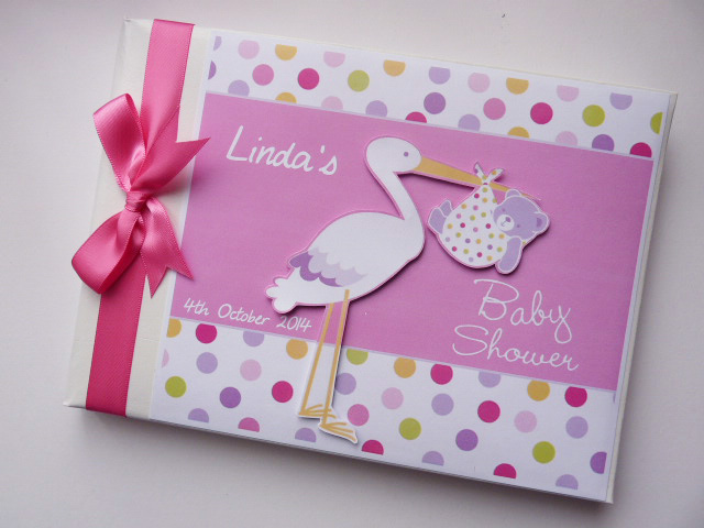 Personalised Baby Girl Stork Baby Shower Guest Book