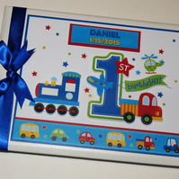 Personalised Trains and Trucks boys Birthday Guest book, album