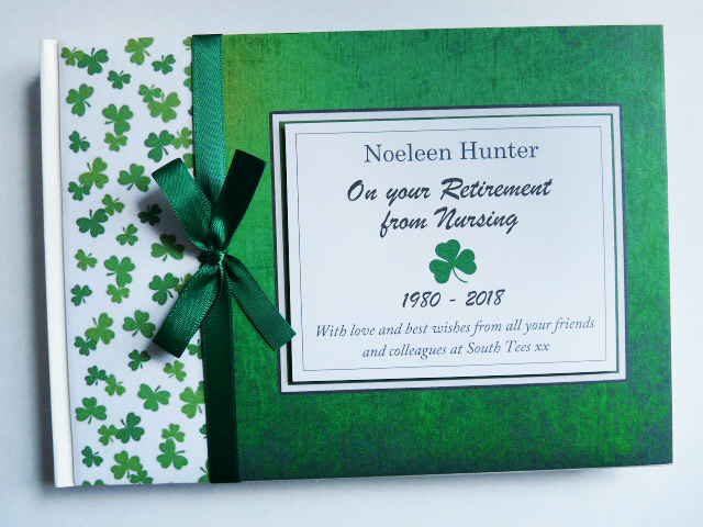 Personalised Irish themed, shammrock Retirement Guest book