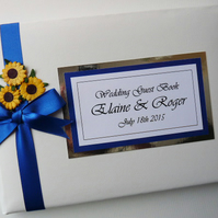 Personalised wedding guest book with sunflowers - any colour