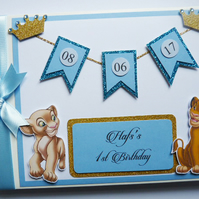 Personalised Lion King Simba and Nala blue and gold birthday guest book